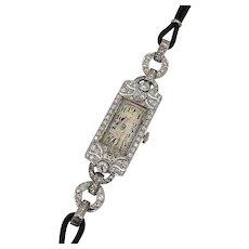 Art Deco Merimont Platinum 1.50ct Diamond 18 Jewel Manual Wind Watch