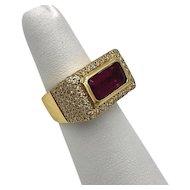 Vintage 18k Gold Pink Tourmaline & Pave Diamond Statement Ring 4.50 cts