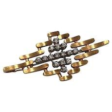 Vintage 14k Yellow Gold Diamond Pin Brooch Pendant Modernist