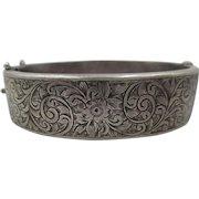 Victorian Robert Pringle & sons Brimingham Etched Sterling Silver Bangle Bracelet