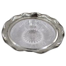 Victorian Sterling Silver Rim Brilliant Cut Crystal Bowl International Silver Co.