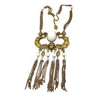 """Art Nouveau Brass Lady Statement Necklace plaque Huge 26"""""""