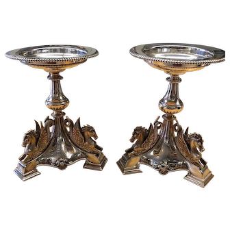 Victorian Mappin Brothers Hippocampus Silver plate compote Candle holder Pair