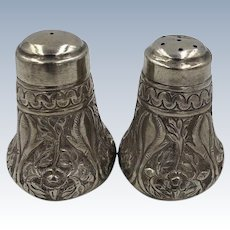 Antique 900 Silver Repouse Salt and Pepper shakers Persian