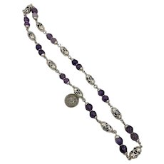 Vintage Taxco Mexico Sterling Silver Amethyst Open work Bead Necklace