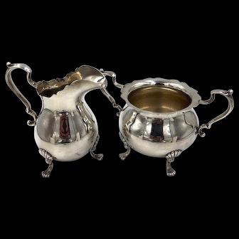 Vintage Fisher Sterling Silver Creamer And Sugar Bowl Set Footed