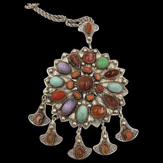Vintage Egyptian Sterling Silver multi gemstone lotus Medallion Pendant Necklace
