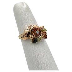 Art Deco 14k Rose Gold Diamond Citrine Flower Ring