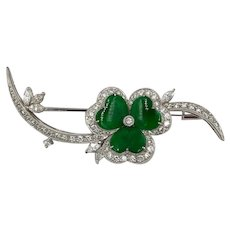 Vintage 18K White Gold Imperial Jade Diamond Clover pin Brooch