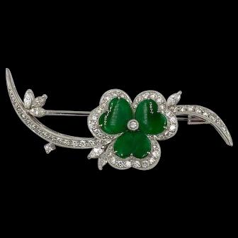 Vintage 18K White Gold Imperial Jade Diamond Clover pin Brooch