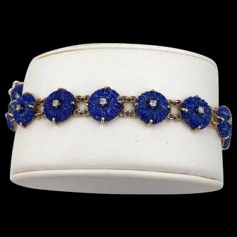 Vintage 14K Yellow Gold Lapis Lazuli & Diamond Bracelet