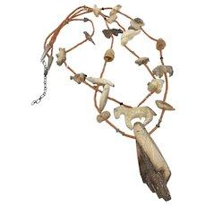 Quandelacy Zuni Fetish Coral Animal Necklace