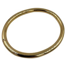 Vintage Italy 18k Yellow Gold Tube bangle Bracelet Oval