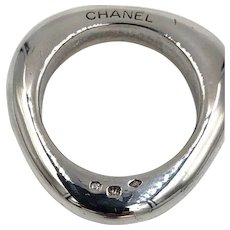 Authentic Coco Chanel Sterling Silver Abstract Band ring Chanel logo