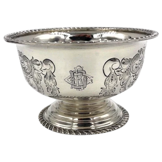 Antique Birmingham Sterling Silver Bowl Circa 1862 repouse chased