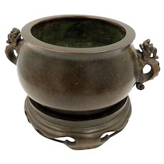 Antique Chinese Bronze Pot Incense Burner Censer with stand Rare