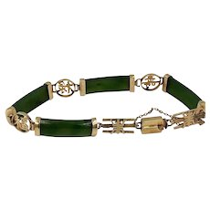 Vintage 14k yellow Gold Jade Chinese character bracelet