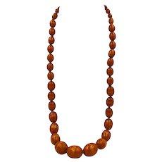 """Antique Amber Bakelite Faturan Kehribar Olive Beads Necklace 28"""" long"""