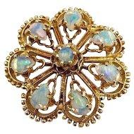 Vintage 14k Yellow Gold Australian Opal Brooch Pin