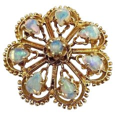 Vintage 14k Yellow Gold Australian Opal Brooch Pin