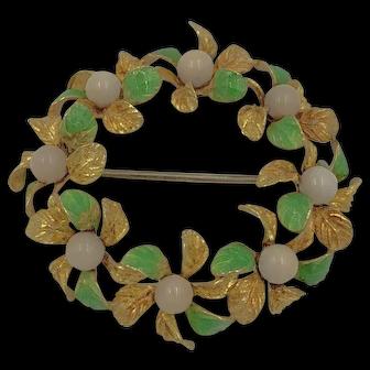 Vintage Italian 18k Yellow Gold Angel skin Coral Enamel Brooch Pin wreath