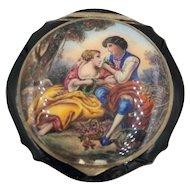 Antique Austrian Hand Painted Enamel Sterling Silver Powder Compact