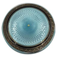 Foster & Bailey Guilloche Enamel Sterling Silver Powder Compact