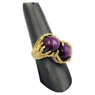 Vintage 14k Yellow gold Star Ruby Sapphire Statement Ring Mens