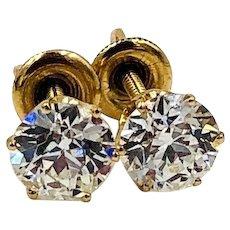 Antique 14K Gold Old European cut Diamond Solitaire Stud Earrings 2.00ct VS1