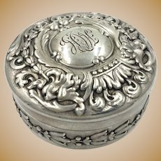 Authentic Tiffany & Co. Rare Victorian Sterling Silver Repousse Pill Box