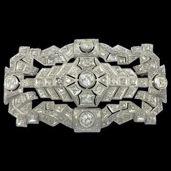 Antique Platinum 5.00 carat Diamond Brooch