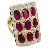 Vintage 14k gold Natural Ruby Cluster Diamond Ring