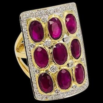 Vintage 14k gold Natural Ruby Cluster Diamond Ring