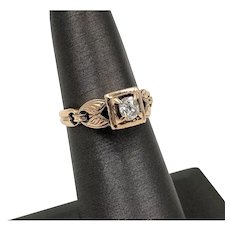 Victorian .30ct Old Mine Cut Diamond 14K Rose Gold Solitaire Ring