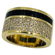 Bernard K. Passman 18k Gold Black Coral Diamond Cigar band Ring