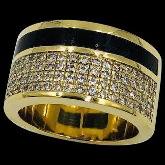 Bernard K. Passman 18k Gold Black Coral Diamond Cigar band Ring