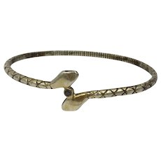 Vintage Sterling Silver Double Headed Snake With Black Diamond Bangle Bracelet