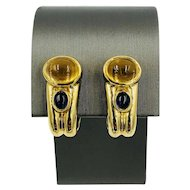 Vintage 18k 750 Gold Citrine Sapphire pierced Omega Clip Earrings