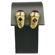 Vintage 14k Yellow gold Tourmaline omega back Earrings