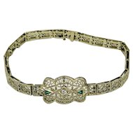 Art Deco 14k White gold Filigree Emerald Diamond Bracelet