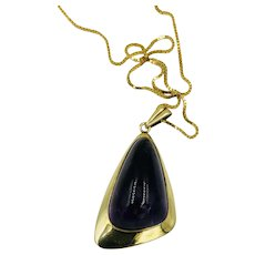 Vintage 14k gold Amethyst Cabochon abstract Pendant Necklace