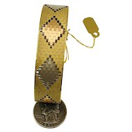 Vintage Italian 14k tri color Gold interlocking link bracelet