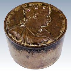 Rare Sterling Silver Container France Medal. Roi de France. Fils de Louis le Begue