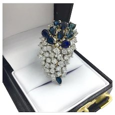 Huge 14K Gold Cocktail Cluster Diamond and Sapphire Ring