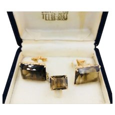 Vintage 14K Gold Topaz Cufflinks Tie tack set in box Korean