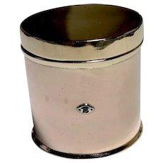Vintage 14K Gold Art Deco Pill / Trinket Box Cylinder with Diamond