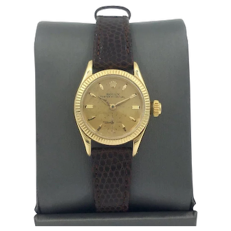 Vintage Rolex 26mm Oyster Perpetual 18K Gold Watch Ref. 6509 women's