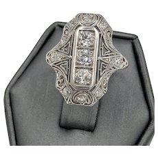 Art Deco Ladies 14k White Gold .85ctw Diamond Filigree Ring Old European cut