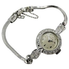 Vintage Hamilton watch 14k White Gold Diamond 22 Jewels