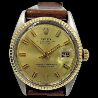 Vintage Rolex Datejust 36mm Stainless Steel & 18k Gold Bezel 1601